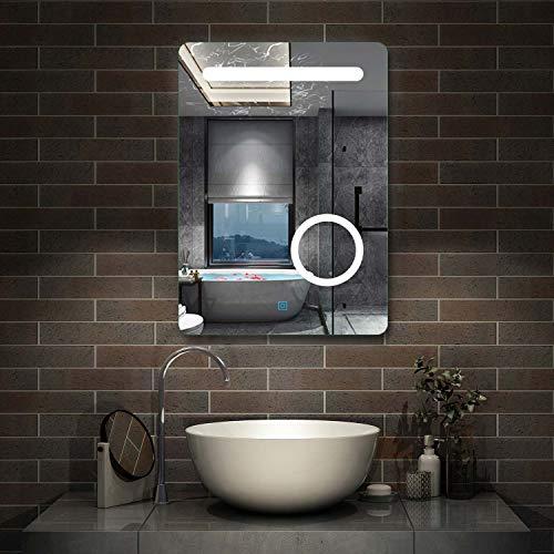 AicaSanitär LED Badspiegel 50×70cm Wandspiegel mit Touch, Beschlagfrei,3-Fach Vergrößerung Schminkspiegel IP44 Kaltweiß energiesparend
