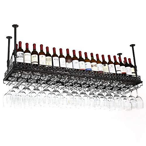 XYQB Vinoteca Ajustable de Pared, Techo Industrial de Vidrio y botellero de Metal Estilo Industrial (Color: Negro, tamaño: 60CM x 35CM)
