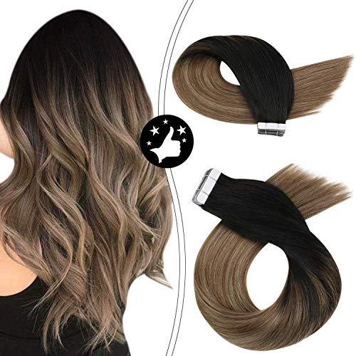 Moresoo 22 Pouces Balayage Hair Extensions Tape in Hair Extensions Remy Human Hair Seamless Hair Color #1B Black Fading to #8 and #12 50 Grams 20PCS P