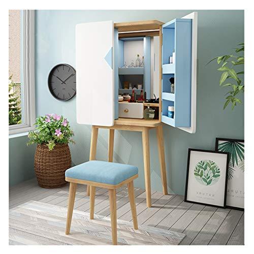 SXLML Postazione Trucco Tavolo Makeup Specchiera Tavolo Cosmetici Mobile da Trucco da Toeletta con Specchio 2 Porta for Camera da Letto o spogliatoio (Color : Blue Table+Stool)