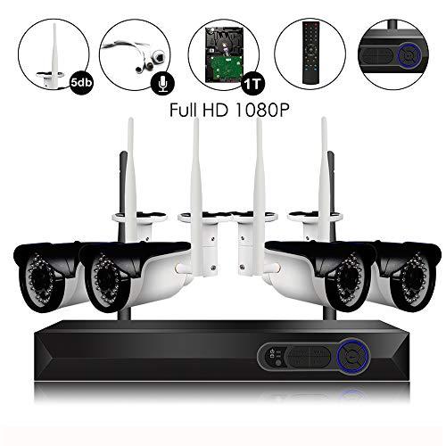 Sistema de cámara de Seguridad inalámbrica, 4 Unidades, 1080 P (2.0 MP), WiFi CCTV IP