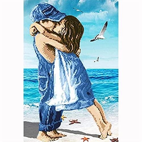 DIY 5D Diamant Malerei Voll set Zwei küssende Kinder,Diamond Painting Bilder Große Stickerei Erwachsene/Kinder Kristall Strass Kreuzstich Diamant Gemälde Handwerk Home Wand...