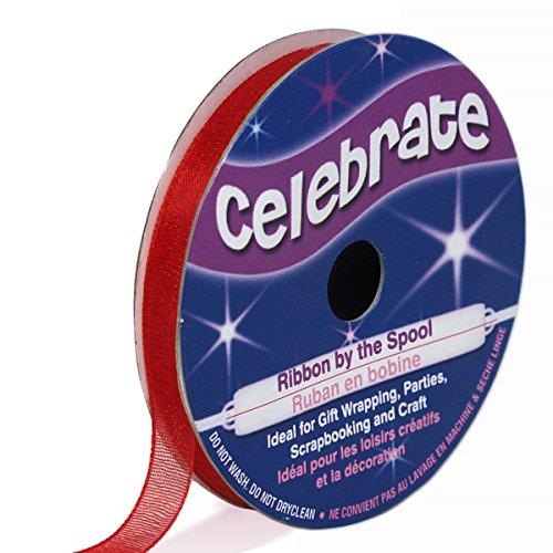 Distrifil - Bobine de ruban - organza - long 8m - larg 6 mm - Celebrate - Rouge