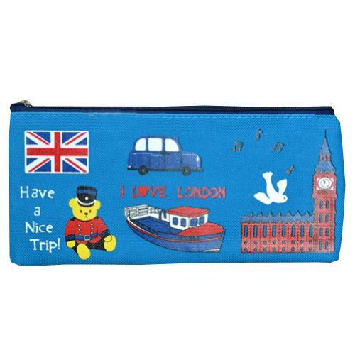 I Love London Oxford Cosmetic Pen Pencil Housse sac sac (9,5 x 20cm) BLUE