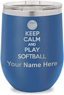 Wine Glass Tumbler, Keep Calm and Play Softball, Personalized Engraving Included (Dark Blue)
