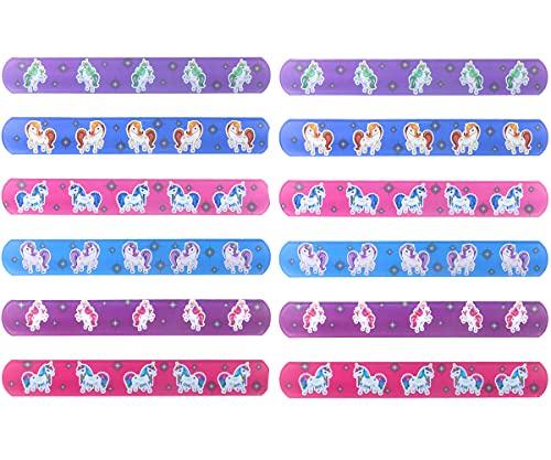 Set de 12 Pulseras Snap de Unicornio 22 cm. Ideal para Bolsas De Fiesta, Cumpleaños, Celebraciones, para Niños Y Niñas
