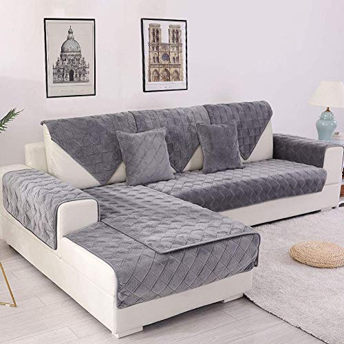 Deep Dream Sectional Sofa Covers, Velvet Sofa Slipcover Protector Anti-Slip Couch Covers for Dogs Cats Kids Recliner Armrest Backrest Cover 28 x 28 Inch - Dark Grey (Sold by Piece/Not All Set)