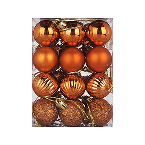 Battnot Weihnachtskugeln 100 teilig 24 teilig 30/60mm Christbaumkugeln Set Weihnachtsbaumschmuck Christbaumschmuck Weihnachtsbaum Kugel Dekoration hängende Hausparty Christmas Xmas (Orange, 24)