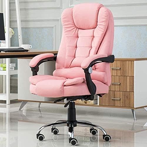 Silla de ordenador para el hogar y la oficina, silla reclinable, silla giratoria de elevación, reposapiés de cuero, asiento de masaje, negro, rosa, color: negro (color: negro) sillón (color: rosa)