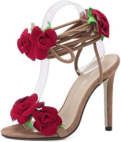 Escarpins Escarpins Escarpins Veste en Daim à La Mode pour Femmes, 11Cm Tendance Sauvage, Fleurs Croisées Et Sandales à Talons Hauts 700