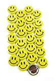 Classic Smiley Face Pinback Button Badges (Yellow, 1.5 Inch)