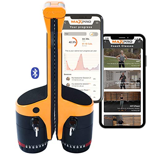 MAXPRO: Portable Smart Cable Gym | All-in-One Machine w/Bluetooth - Free APP 100's of Workouts | Exercise Anywhere - Outdoors, Camping, Travel. Weighs <10Lbs. (5-300lbs Resistance), Sport Orange