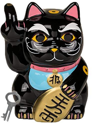 Bada Bing Spardose Angry Katze Kater Cat Mittelfinger Witzig Ca. 15 cm Schwarz Sparschwein Mit Schlüssel Geschenk Trend 01
