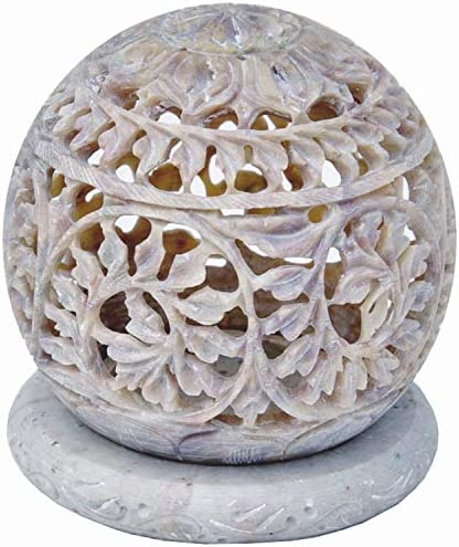 NIRMAN Hand Carved Tealight Holder Sphere Shaped Made from Soapstone with Intricate Tendril product image