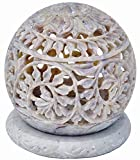 Nirvana Class Hand Carved Tealight Holder Sphere Shaped Made from Soapstone with Intricate Tendril Openwork Floral Decorative Lantern Decorate Your Home with This Amazing Tea Light Holder