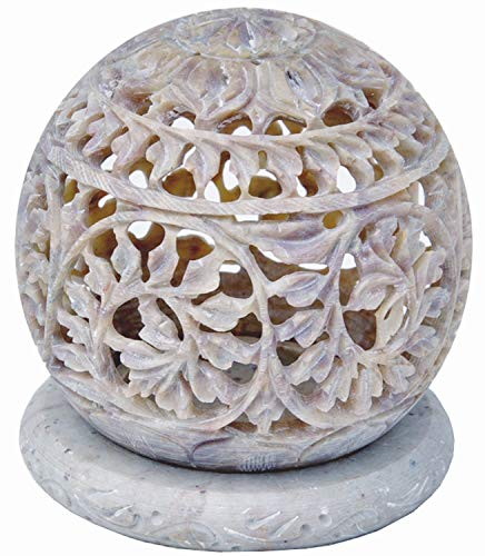 Indus Lifespace Handmade Embossed Carved Soapstone Round Small Tealight Candle Holder with...