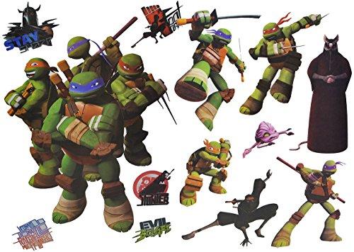 alles-meine.de GmbH 13 TLG. Set: Wandtattoo / Sticker + Fensterbilder - Teenage Mutant Ninja Turtles - Wandsticker Aufkleber für Kinderzimmer - Jungen Hero Comic Schildkröten Kin..