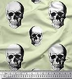 Soimoi Gelb Samt Stoff Horror-Schädel Halloween gedruckt