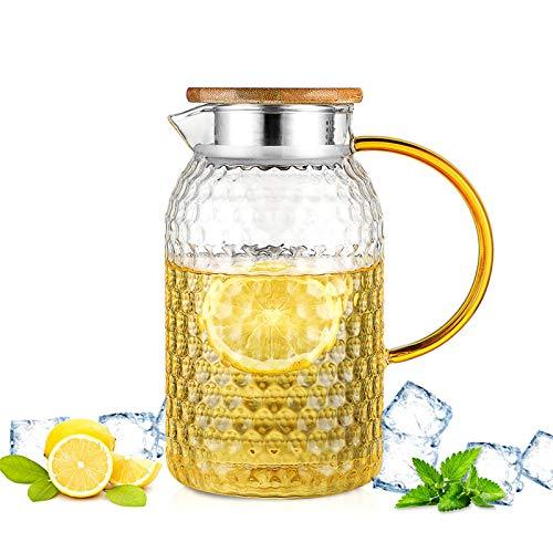 QUYUAN Jarras de Cristal, 1.5L Jarra de Vidrio para Agua con Tapa, Jarra de Agua de Vidrio Botella de Cristal para Caliente & Fría Agua Té Helado Bebidas y Jugo