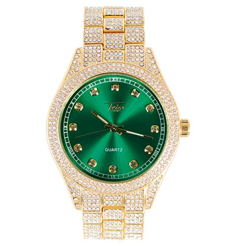 Men's ICY Bling-ed Out Metal Band Bust Down Watch with Full CZ Diamond Iced Band - Fully Iced Bezel and CZ Stud Indicators - Inspired by Hip Hop Iced Culture (Gold/Green)
