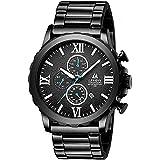 Mens Watches Chronograph Stainless Steel Band Stopwatch Waterproof Luminous Date Calendar Analog Quartz Luxury Wrist Watches for Men Black