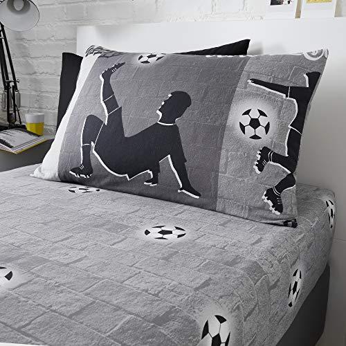 Happy Linen Company Jungen/Mädchen Einzelbett-Spannbettlaken - Fußball-Motive - Dunkelgrau