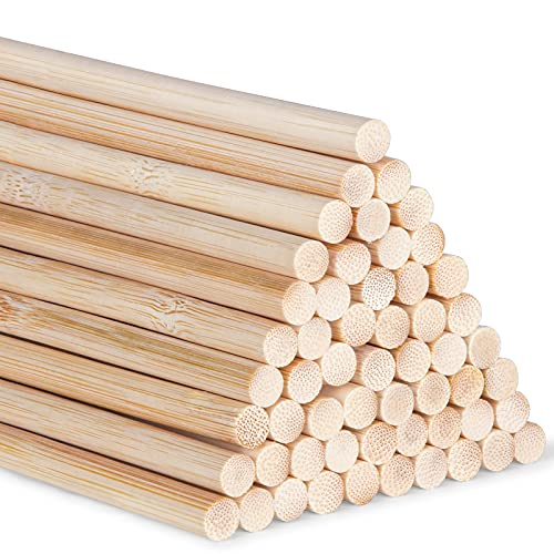 Varillas de bambú para manualidades, 30 cm / 11,8 pulgadas para proyectos de manualidades, varillas largas de madera para bricolaje, 55 piezas de varillas de bambú de alta calidad (5mm/0.20inch)