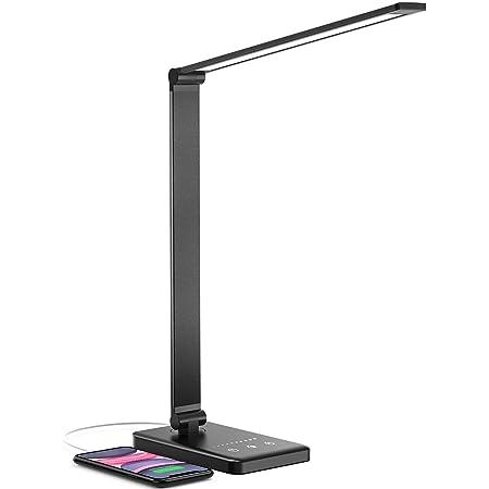 Lampe de Bureau LED, Jirvyuk LED Lampe de Table 5 Modes de Couleur et 10 Niveaux de Luminosité Ajustable Contrôle Tactile Protection des Yeux avec 1 Port Chargeur USB pour Charger Smartphone(Noir)