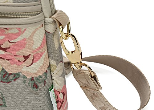 KAYOND Gray Rose Patten Canvas Laptop Bag