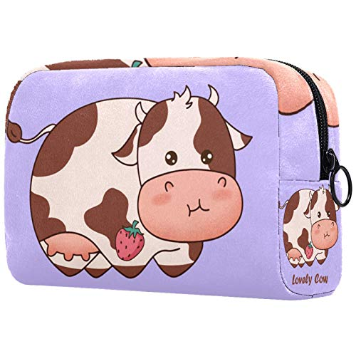 Personalised Makeup Brushes Bag Portable Toiletry Bags for Women Handbag Cosmetic Travel Organiser Lovely Cow