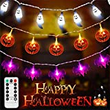 Decoración de Halloween LUNSY 90LED luces de cadena de halloween con control remoto Calabaza impermeable + fantasma blanco + murciélago UV para exterior Navidad Fiesta de Halloween
