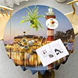 JKTOWN United States Home Table Tablecloth for Wedding Reception Restaurant Banquet Party 47 inch Hilton Head South Carolina Lighthouse Twilight Water Reflection Boats Idyllic Multicolor