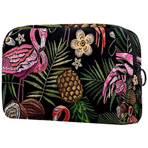 Tikismile Grande trousse de maquillage avec broderie Flamant rose et feuilles de palmier