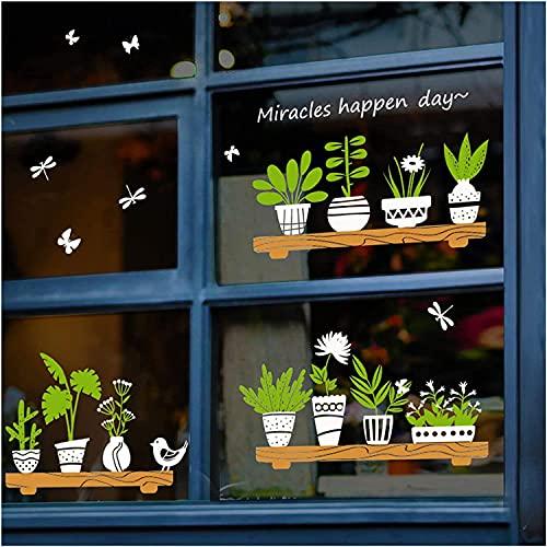 Wenyun Adesivo da parete, motivo: piante in vaso verde bonsai, poster da parete, poster artistico, ristorante, carta da parati autoadesiva