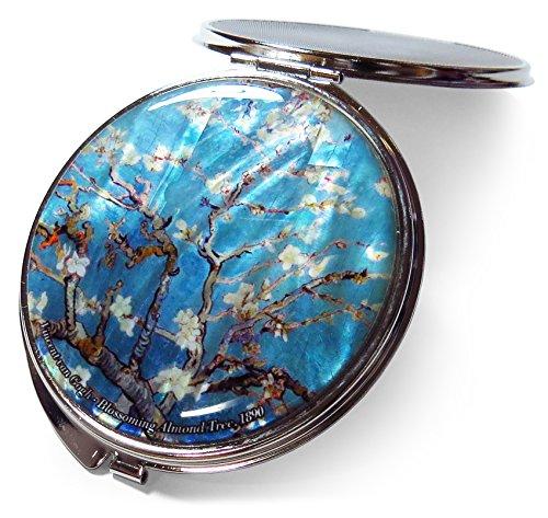 Van Gogh Amandier Miroir de maquillage compact en métal nacré Turquoise