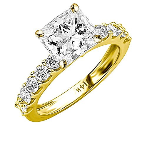 2 Carat 14K Yellow Gold Classic Side Stone Prong Set GIA Certified Princess Cut Diamond Engagement Ring w/a 1 Ct J-K Color SI1-SI2 Clarity Center