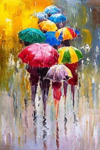 Abstrakt Porträt Ölgemälde-Druck Auf Leinwand Kunstdrucke Mädchen Mit Einem Regenschirm Wall Art Pictures Home Wanddekoration (Size (Inch) : 40x60cm unframed)
