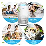HOKEKI Air Purifier for Large Room with Air Quality Auto Sensor, True HEPA Air Cleaner Filter, 5-in-1 Odor Eliminator… 11 【Smart Air Quality Sensor & Indicator】This air freshener features unique AQ interface, built-in air quality sensor detects air quality at work, the interface will continuously diagnose the air and display the air quality level (blue-green-orange-red). you can adjust cleaning performance depending on the air quality. When the filters indicators light up, it is recommended to replace your filter every 4230 hours. 【5 in 1 Air Filter System】 3 speeds and 2 modes adjustment (low, medium, high speed, auto and sleep modes)in one button. In sleep mode, the noise is less than 29 dB, maximum noise below 52 dB at high speed. It is perfect for using in living rooms, bedrooms, children's rooms and offices. 【True HEPA Air Purifier】Equipped with pre-filter, HEPA filter, an activated carbon filter, easy to capture up dust, smoke, odor, pet dander and cooking around your living space and zero Ozone emission. The VK-6067B is suitable for rooms up to 18-31m², and the cleaning performance CADR (Clean Air Delivery Rate) is 220m³ / h3 fan speed and auto mode meet your needs.