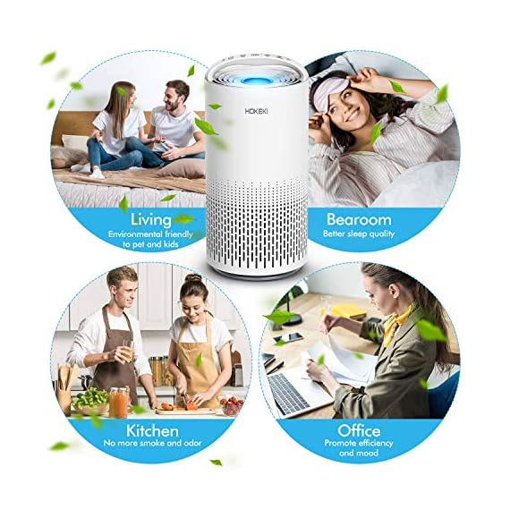 HOKEKI Air Purifier for Large Room with Air Quality Auto Sensor, True HEPA Air Cleaner Filter, 5-in-1 Odor Eliminator… 3 【Smart Air Quality Sensor & Indicator】This air freshener features unique AQ interface, built-in air quality sensor detects air quality at work, the interface will continuously diagnose the air and display the air quality level (blue-green-orange-red). you can adjust cleaning performance depending on the air quality. When the filters indicators light up, it is recommended to replace your filter every 4230 hours. 【5 in 1 Air Filter System】 3 speeds and 2 modes adjustment (low, medium, high speed, auto and sleep modes)in one button. In sleep mode, the noise is less than 29 dB, maximum noise below 52 dB at high speed. It is perfect for using in living rooms, bedrooms, children's rooms and offices. 【True HEPA Air Purifier】Equipped with pre-filter, HEPA filter, an activated carbon filter, easy to capture up dust, smoke, odor, pet dander and cooking around your living space and zero Ozone emission. The VK-6067B is suitable for rooms up to 18-31m², and the cleaning performance CADR (Clean Air Delivery Rate) is 220m³ / h3 fan speed and auto mode meet your needs.