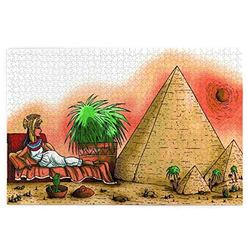 KIMDFACE Rompecabezas Puzzle 1000 Piezas,Cleopatra VII Philopator Egipto Faraón Ilustración en el Desierto con pirámides,Puzzle Educa Inteligencia Jigsaw Puzzles para Niños Adultos