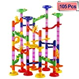 ELONGDI Marble Run Race Coaster Set, Marble Run Railway Toys [ 105 Pieces ] Construction Toys Building Blocks Set Marble Run Race Coaster Maze Toys for Kids