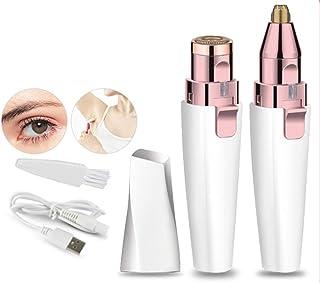BEENLE Recortadora de cejas y removedor de vello facial para mujeres, 2 en 1 depiladora de cejas, afeitadora sin dolor con luz LED integrada