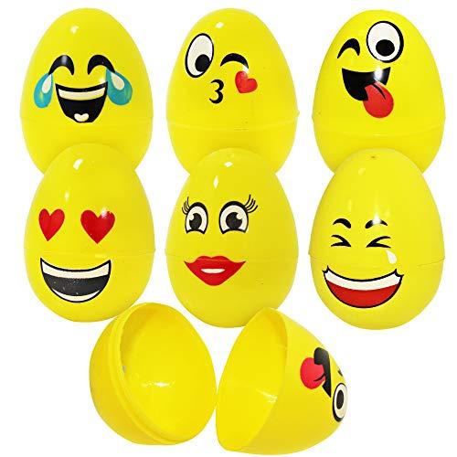 THE TWIDDLERS 30er Set Ostereier zum Befüllen & Plastikeier zum Öffnen aus Kunststoff mit Smiley Emoji Gesichtern – stylische Plastik Eier zum Verstecken & Suchen Ostern