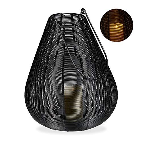 Relaxdays windlicht metaal, modern, kandelaar voor stompkaarsen, decoratieve lantaarn draad, HBT: 31 x 27 x 27 cm, zwart, 1 stuk