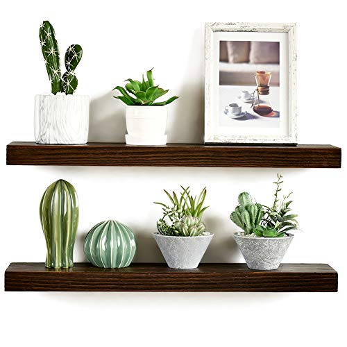 Imperative Décor Floating Shelves Rustic Wood Wall Shelf USA Handmade | Set of 2 (Special Walnut, 24