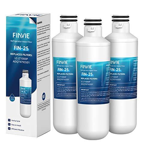 FINVIE LT1000p Filtro de agua para refrigerador, compatible con LG LT1000P, LT1000PC, LT-1000PC, ADQ74793501, ADQ74793502, MDJ64844601, Kenmore 469980, LMXS28626S, paquete de 3