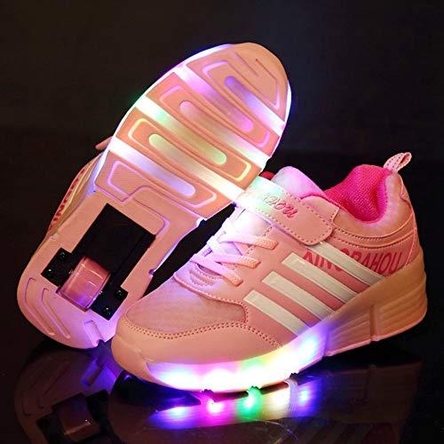SNOWWOLF LED-Rollschuhe Verformungsschuhe Rollschuhe, Outdoor-Sport-Riemenscheiben Für Kinder, Einzelrad-Skating-Schuhe,C,35