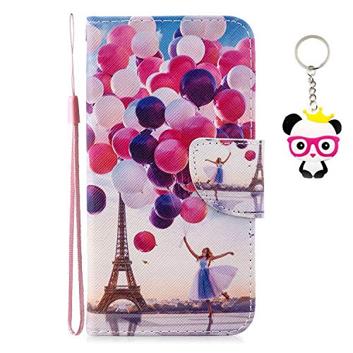 ChoosEU Compatibile con Cover Xiaomi Redmi Note 7 in Pelle Flip Custodia Libro Pelle PU Silicone Morbide Disegni Colorate Case Antiurto Protettiva Supporto Stand Porta Carte - Palloncino