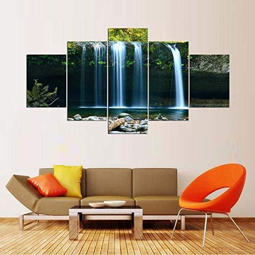 GHYTR Cascada del Bosque De Big Rock Falls Lienzo 5 Piezas Abstracto Pared Arte Pintura Grandes Cuadros Marco 150×80Cm Cartel Pared Decoracion Hogar Murales Pared Sala Dormitorio Regalo