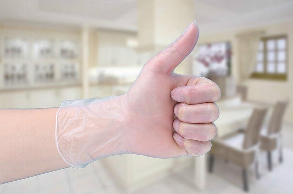 占めるクリーナーゴミ箱を空にするKaLaiXing 50個使い捨て手袋、超薄:0.1-0.15mm、引裂き耐性、ラテックスフリー、ニトリル、パウダーフリー-Transparent